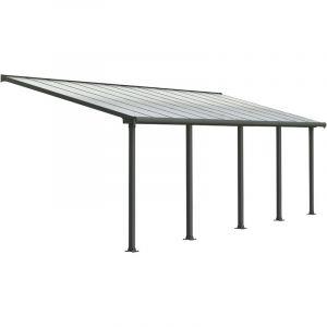 Palram Pergola adossée Olympia 21,9 m² - Aluminium et polycarbonate - Gris