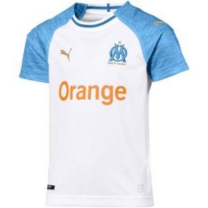 Puma Olympique de Marseille Home Shirt Replica SS Kids Maillots Mixte Enfant, White/Bleu Azur, FR : Taille Unique (Taille Fabricant : 152)