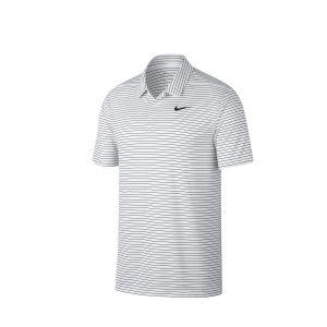 Nike Polo de golf à rayures Dri-FIT pour Homme - Blanc - Taille L