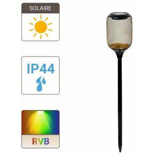 Xanlite Balise à piquet Solaire 2 LED RVB + Blanc IP44 8h d'autonomie - SOBAGRVBW
