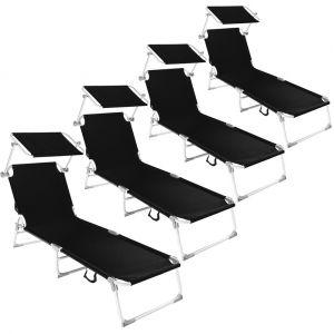 TecTake 4 Chaises longues, Transat, Bain de soleil, Pare Soleil, Pliables Aluminium 190 cm Noir