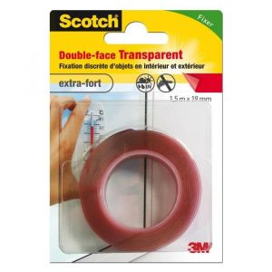 3M SCOTCH Double-face - 1,5 m x 19 mm - Transparent - Ruban adhésif double-face - 1,5 m x 19 mm - Transparent - Extra fort