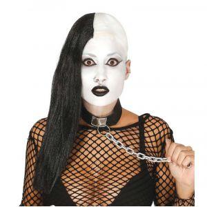 Perruque Cheveux Noir et Crâne Blanc