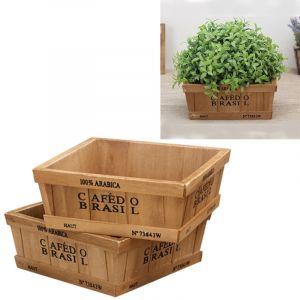 WeWoo Pot de fleur 2PCS Style rétro en bois plantes succulentes carré de