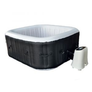 Water'clip Cocooning Water - Spa gonflable carré (154x154cm) 3-4 places - 120 jets - Filtrage et chauffage - 700L - Noir et Blanc - Malaga - Noir