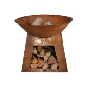 Esschert design Cheminée d'extérieure vasque + stockage bois petit modèle