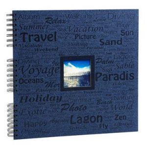 Exacompta 16818E - Album photos Momento 32x32 cm, 60p. noires/360 photos, reliure à spirales, bleu marine