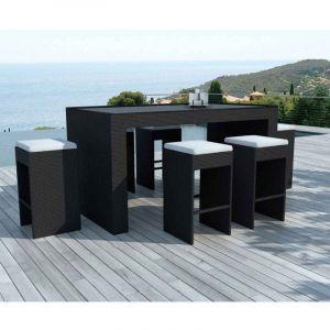 Delorm Design Barrio - Bar de jardin et 6 tabourets en résine tressée noire