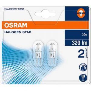 Osram 2 LAMPES ECONOMY G4 20W/12V Lot de 2 ampoules halogène à culot à fiches G4-20W-12V 64425 ST BLI2