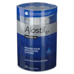 Johnson & Johnson Alostil 5% minoxidil MousseE anti-chute cheveux 3 flacons