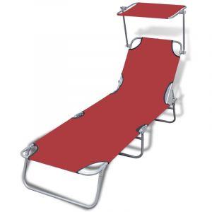 VidaXL Chaise longue pliable avec auvent Acier et tissu Rouge