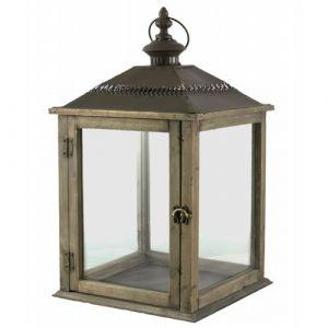 L'héritier du temps Lampe Tempête Lanterne en Bois et Fer Marron Photophore Carré Intérieur Extérieur 26x26x51cm