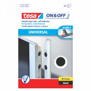 Tesa 55226-00000-01 - Pochette de 8 pastilles adhésives Velcro - Diamètre 16 mm noir