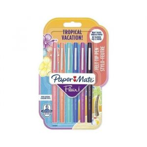Paper Mate Lot de 6 stylos feutre Flair - Pointe moyenne - Couleurs tropicales et assorties