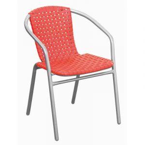 Pegane Fauteuil en fer époxy argent Ø25mm avec assise en plastique coloris orange - Dim : H 76 x L 60 x P 54 cm