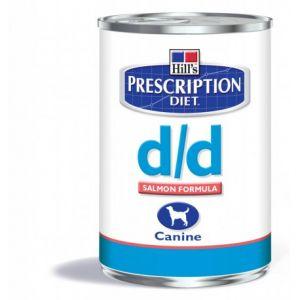 Hill's Prescription Diet d/d Canine - 12 boîtes de 370 g, Saveur : Saumon
