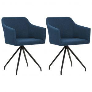 VidaXL Chaise pivotante de salle à manger 2 pcs Bleu Tissu