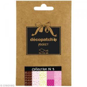 decopatch DP003O - Déco Pocket n°3 : 5 feuilles 30x40 cm, motifs 680, 681, 540, 486, 299