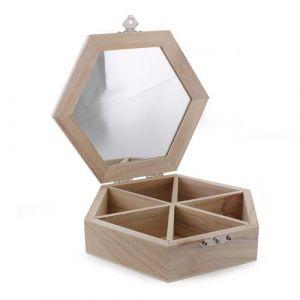 Mystbrand Boîte à Bijoux Hexagone En Bois à Décorer Comparer Avec