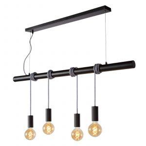Lucide JAIME-Suspension barre 4 lumières en métal L120cm Noir