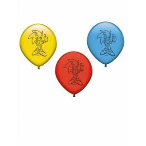 8 Ballons en latex rouge, bleu et jaune Sonic Taille Unique