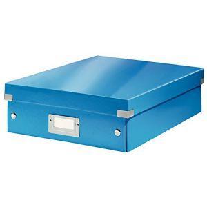 Leitz 6058-00-36 - Boîte de rangement Click & Store, moyen format avec compartiments, en PP, coloris bleu métallique