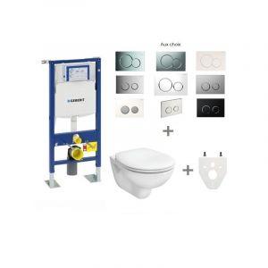 Geberit Pack bâti-support DUOFIX mural + plaque de déclenchement blanc