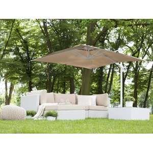 Beliani Parasol de jardin 2,5 m café au lait et blanc Monza