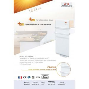 Airelec A692335 - Sèche-serviettes Lilou digital 1500 Watts