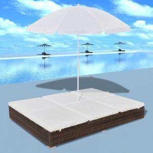VidaXL Chaise longue avec parasol rotin synthétique marron