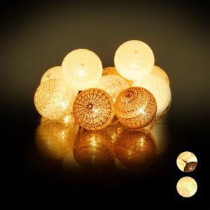 Relaxdays Guirlande Lumineuse LED, 10 Boules Coton, Fonction Piles, Lumières d'Ambiance, Sphères Ø6 cm, Blanc-Gris-Marron