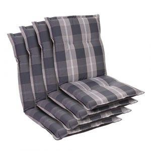 Blumfeldt Coussin de chaise de jardin Prato -103 x 52 x8 cm -4 pièces -Gris clair