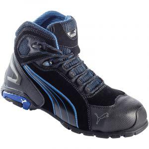 Puma - Chaussure de sécurité montante Metro Protect Rio Black Mid S3 SRC noire/bleue - 45 - 63.225.0-45