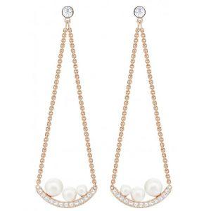 Swarovski : Boucles d'oreilles Bijoux 5429964 - Acier Doré Rose Cristaux Femme