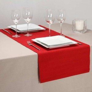 Chemin de table en coton côtelé (40 x 150 cm)