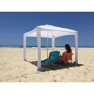 Tente Plage Cabana, avec son sac de transport - Blanc - Parasol Plage Cabana - En métal + toile en polyester - Dimensions : 173x173x200 cm - Coloris : blanc.