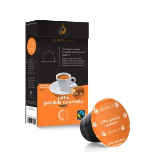 Gourmesso Capsule café Soffio Gianduia Caramello compatible machine Nespresso
