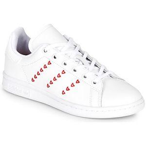 Adidas Baskets -originals Stan Smith Junior - Footwear White / Footwear White / Lush Red - EU 35 1/2