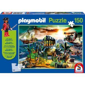 Schmidt Puzzle Playmobil : L'Île des pirates avec pirate (150 pièces)