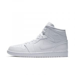 Nike Chaussure Air Jordan 1 Mid pour Homme - Blanc - Couleur Blanc - Taille 44.5