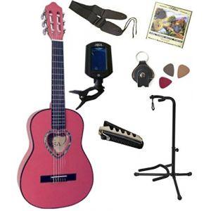 MSA Musikinstrumente Pack Guitare Classique 1/4 Rose 7 accessoires pour enfant rosace en coeur