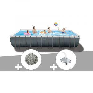 Intex Kit piscine tubulaire Ultra XTR Frame rectangulaire 7,32 x 3,66 x 1,32 m + 20 kg de zéolite + Robot nettoyeur