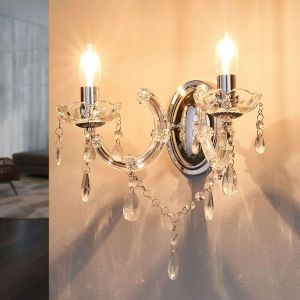 Searchlight Marie Therese 399-2 Applique murale baroque 2 chandeliers - Finition chrome