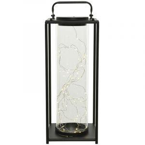 Lanterne solaire l ineuse en métal 15 x 15 x 42 cm