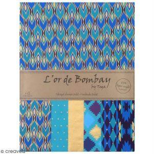 Toga Lot de 6 feuilles - L'or de Bombay - 27,8 x 21,2 cm - bleu, violet, vert et or