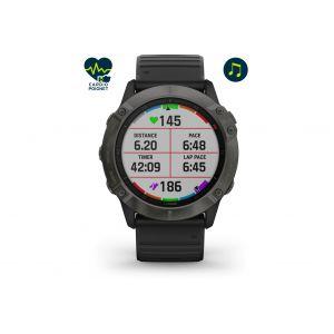 Garmin Fenix 6X Sapphire DLC Montre GPS multisport, black/slate grey Montres & Ceintures cardio