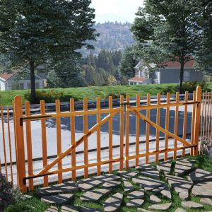 VidaXL Portillon double de clôture Bois noisetier imprégné 300x120 cm