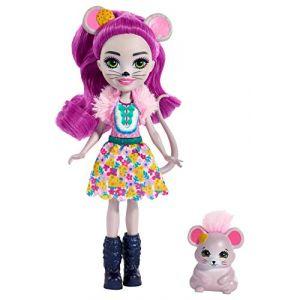 Mattel Enchantimals Mini-poupée Mayla Souris et figurine animale Fondue aux longs cheveux violets bouclés, jupe amovible et faux col, jouet pour enfant, FXM76