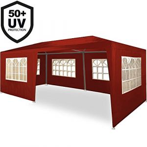 Deuba Tonnelle Rimini rouge Tente de réception 3x6m Chapiteau Tente de jardin Pavillon