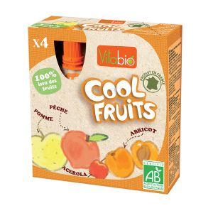 Image de KaliBio Cool Fruits : Compote à boire Pommes Pêches Abricots 4 x 90 g